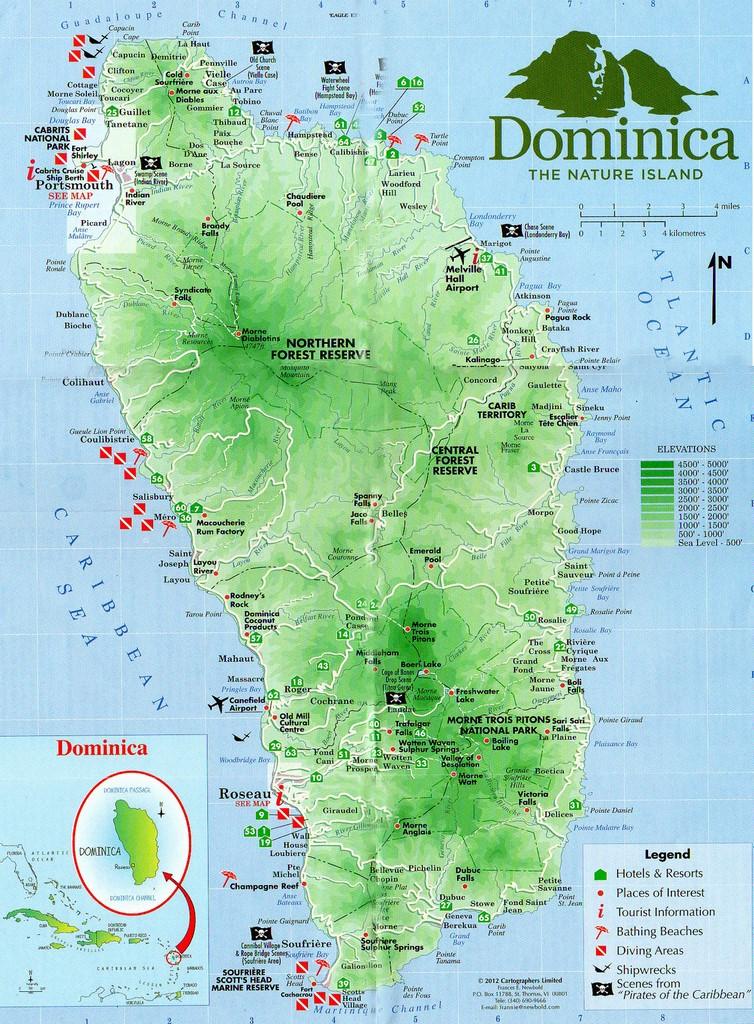 carte de l île de la dominique